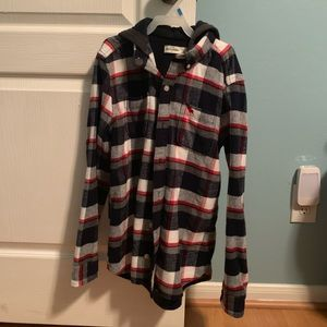 Long sleeve flannel with hood